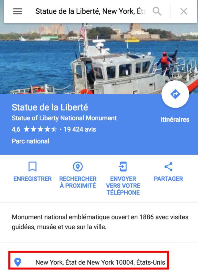 Simple Google Maps shortcode adresse New York