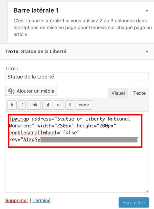 Simple Google Maps shortcode widget de l'extension