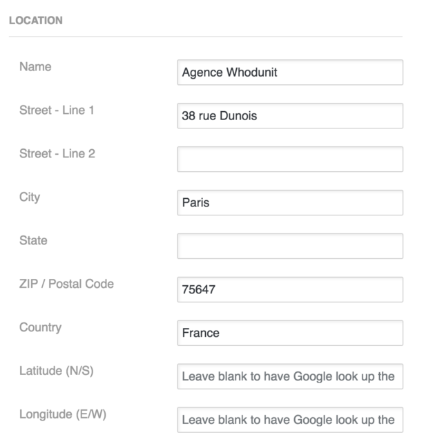Store locator Plus informations sur la carte