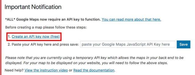 WP Google Map création d'une clé API sur l'admin