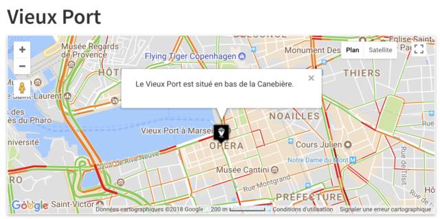 WPGoogleMapPlugin carte du Vieux Port