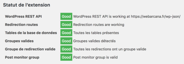 Plugin Redirection : onglet Support