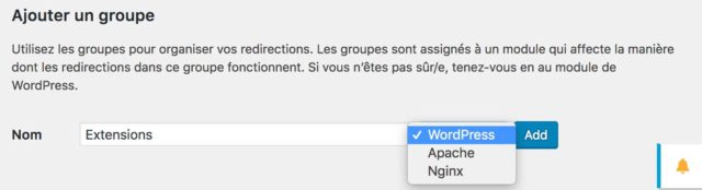 Plugin Redirection : Les groupes de redirections
