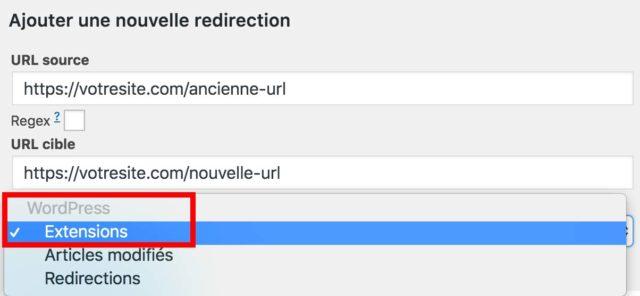 Plugin Redirection : ajouter un groupe de redirections