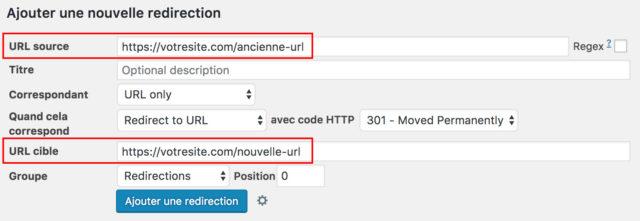 Plugin WordPress redirection : options
