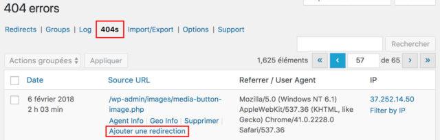 Plugin Redirection : onglet 404s