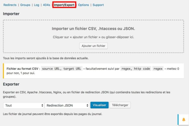 Plugin Redirection : onglet import / export