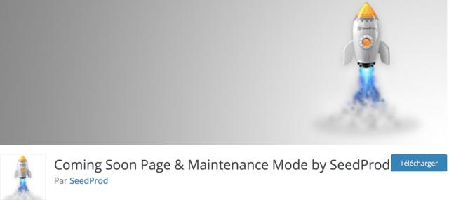 Plugin Coming Soon Page Maintenance de Seed Prod pour créer un site en construction