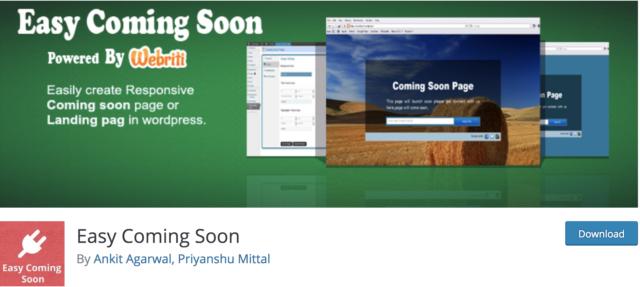 Site en construction WordPress: capture d'écran du plugin Easy Coming Soon