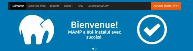 Page de démarrage de MAMP