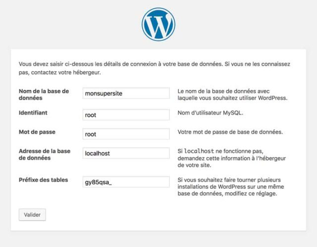 Réglages de WordPress avec MAMP