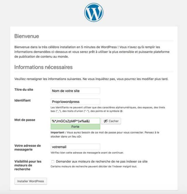 Donner un nom à son site WordPress