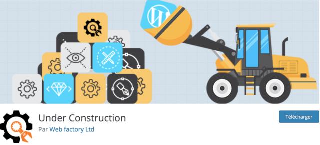 Capture d'écran de l'extension WordPress Under Construction