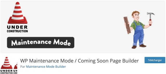 Capture d'écran de l'etension WordPress WP Maintenance Mode Coming Soon Page Builde