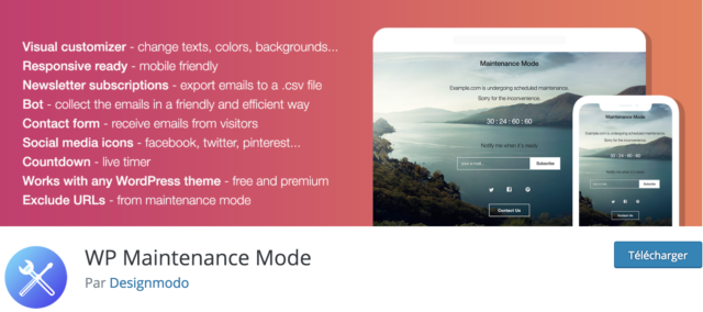 WordPress coming soon : screenshot du plugin Maintenance Mode