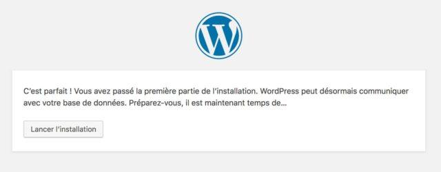 Lancement installation WordPress