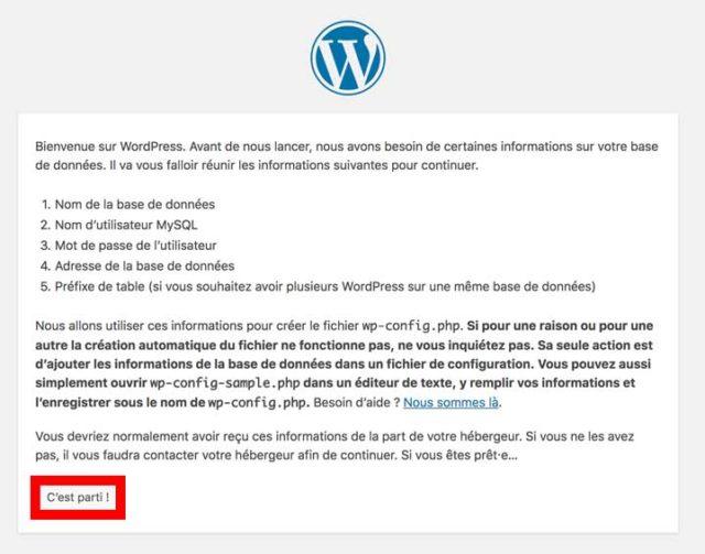 Installer WordPress grâce à la page d'accueil du CMS