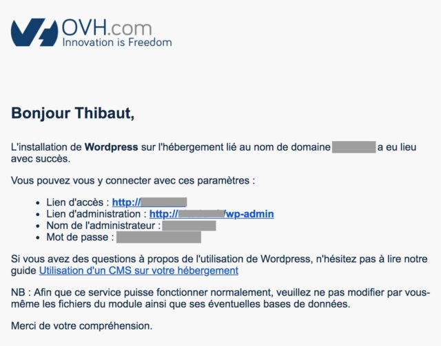 Mail d'OVH