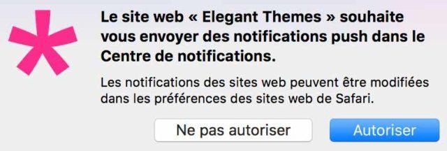 Notification push du site Elegant Themes