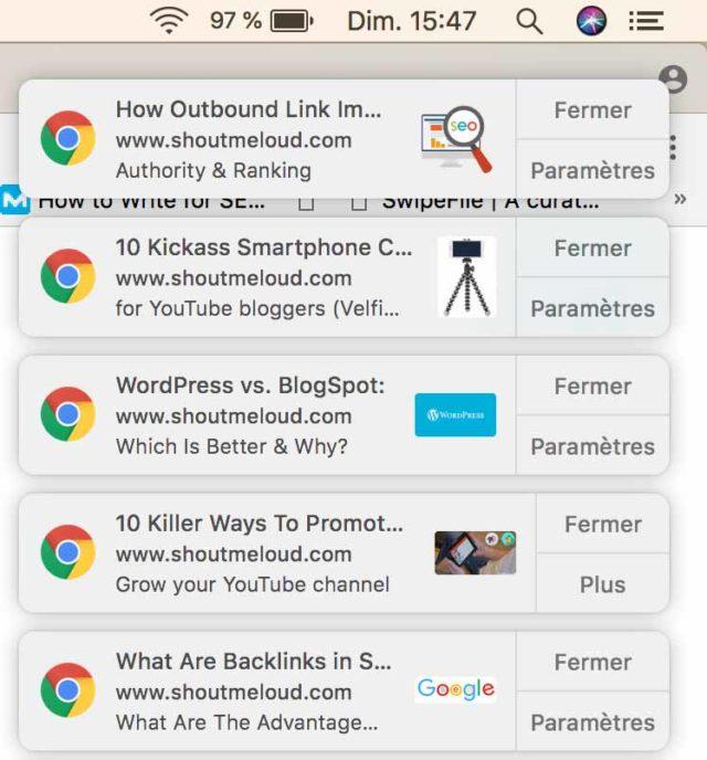 Exemples de plusieurs notifications push sur Chrome