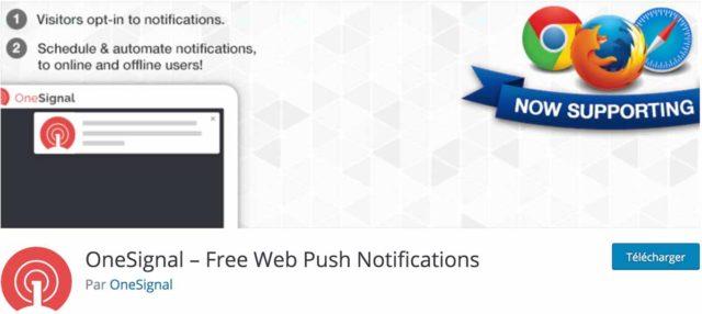 OneSignal WordPress : capture d'écran du plugin sur le repository