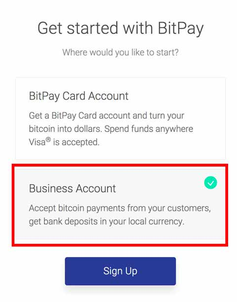 BitPay business account