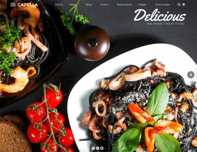 Capella est un thème WordPress pour restaurant
