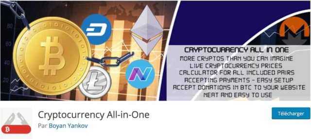 Plugin Cryptocurrency all in one pour intégrer le Bitcoin sur WordPress