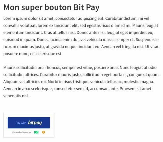 Intégration du bouton BitPay au sein d'une page WordPress