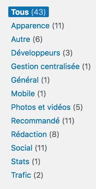 Les différents modules du plugin Jetpack pour WordPress