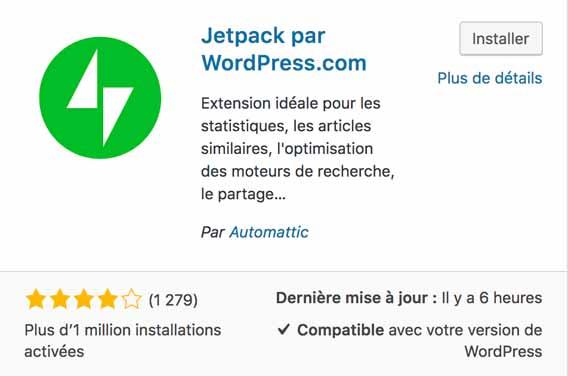 Aperçu de l'apparence de Jetpack sur le répertoire officiel