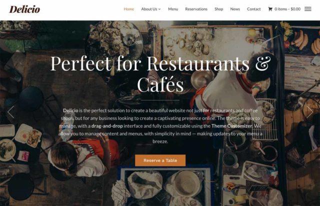 Aperçu du thème WordPress pour restaurant Delicio