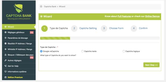 Le plugin Captcha Bank permet de choisir entre différents types de captcha WordPress très utiles