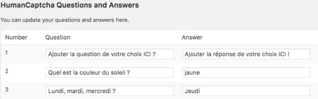 Personnalisez la question que vous souhaitez que votre captcha WordPress propose à vos visiteurs.