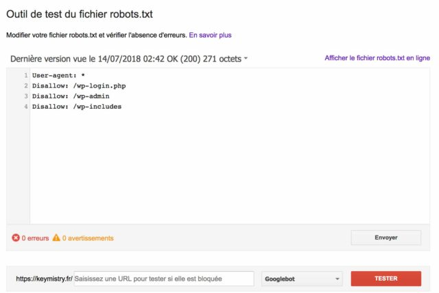 Test du fichier sur la Google Search Console