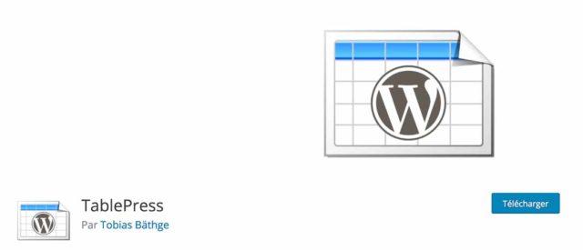 Table Press permet de créer des tableaux sur WordPress