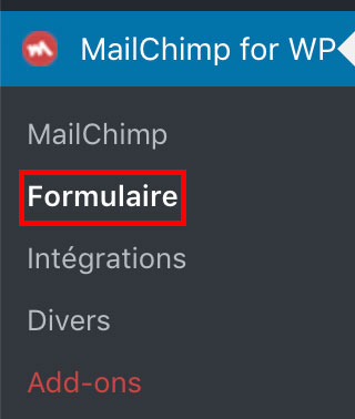 Lien du formulaire de MailChimp for WordPress