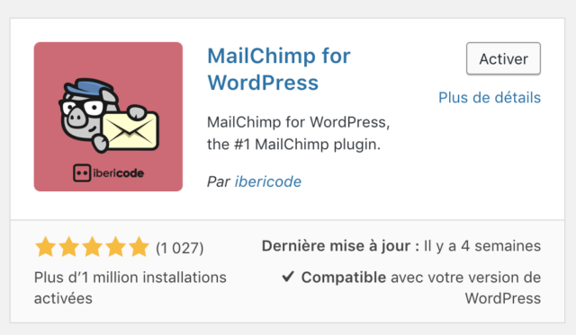 Extension MailChimp for WordPress