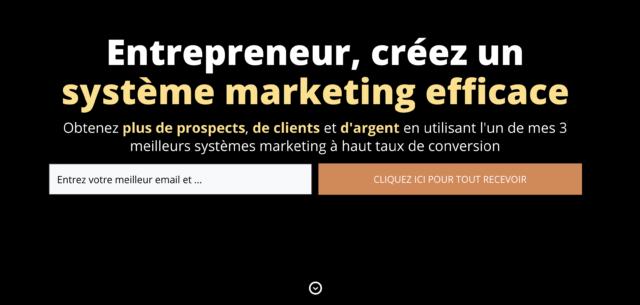 Le formulaire lightbox du site Marketing Haters