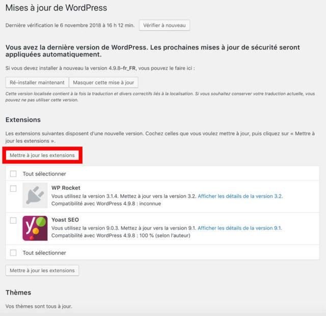 Mise à jour des extensions de WordPress