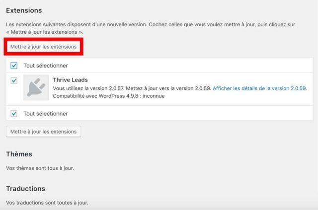 Mise à jour sur WordPress des plugins depuis le dashboard
