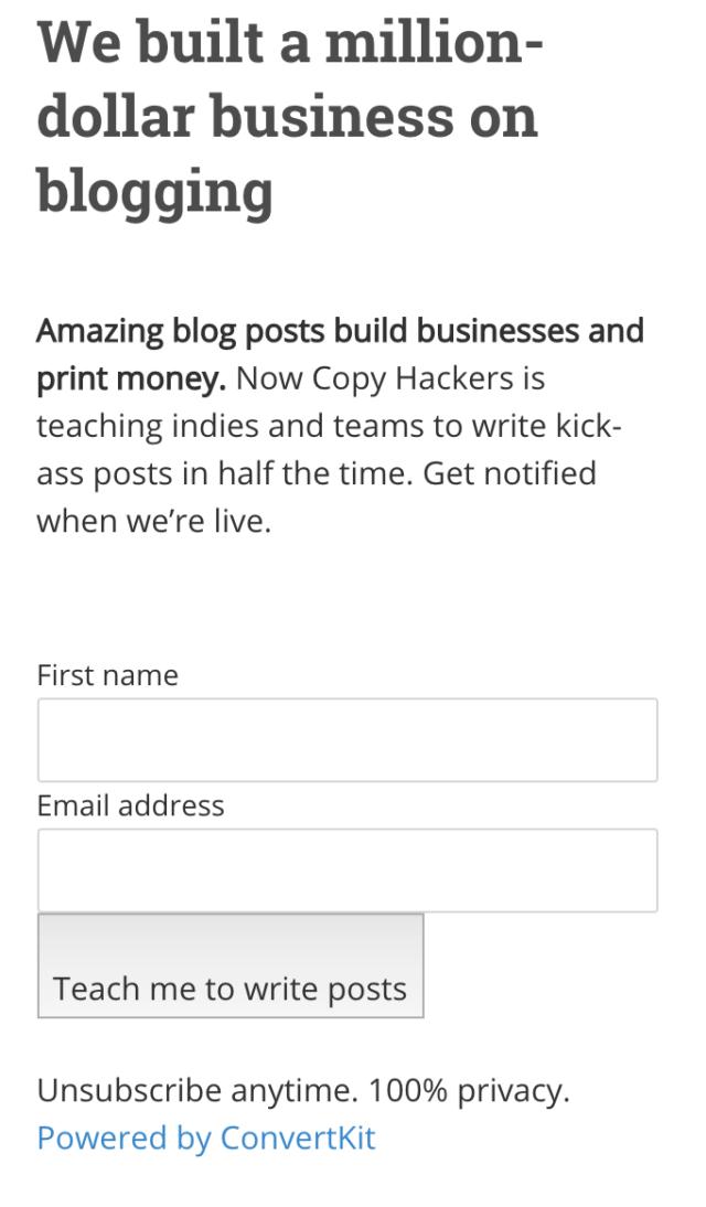 Formulaire sidebar deu site Copy Hackers