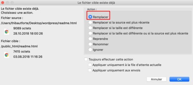 Option Remplacer pour les fichiers sur un FTP
