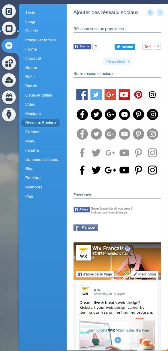 Le menu Wix pour intégrer de nouvelles fonctionnalités