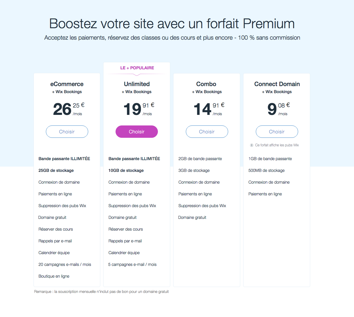 Attention à bien vérifier les pricings, qui varient en fonction des fonctionnalités choisies sur Wix !