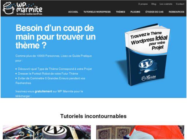 Page d'accueil de la V3 de WP Marmite
