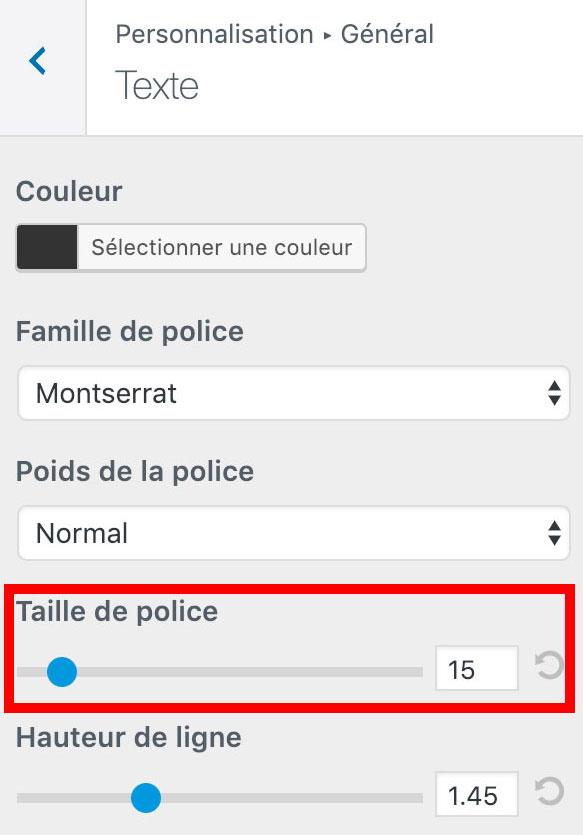 Réglages de la taille de la police depuis le customiseur WordPress