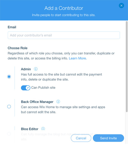 Add a contributor on Wix