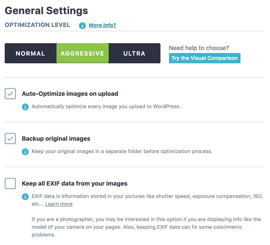 Imagify general settings