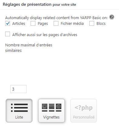présentation affichage plugin YARPP WordPress